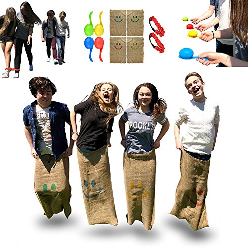 Elite Sportz Kids Party Games Combo - Potato Sack Race Bags - 3 Legged Race and Egg and Spoon Race - Carry bag Included