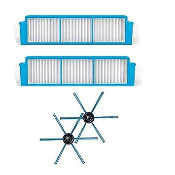ntnt para Philips Robot aspirador fc8796 fc8794 fc8792 Filtro HEPA * 2 + Cepillo Lateral * 2 filtros de repuesto: Amazon.es: Hogar