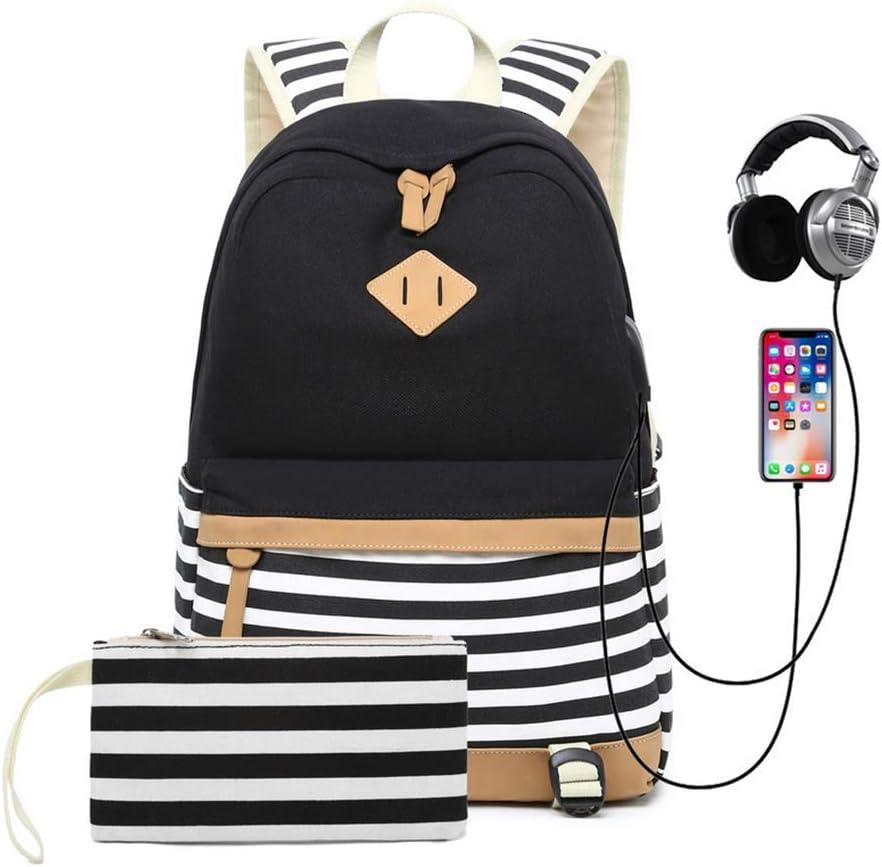 HFY Mochila Escolares Mujer Mochila de Lona Casual, Mochila para Ordenador Portátil 15.6 Pulgadas con USB Port, Mochilas Viaje Juveniles Chicas Adolescentes (Negro)