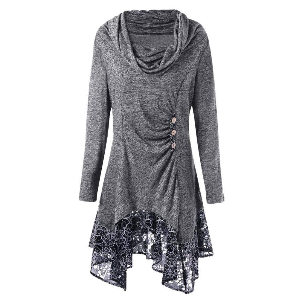 Hoshell Women Lace Patchwork Button Scarf Neck Long Sleeve Irregular Mini Dress