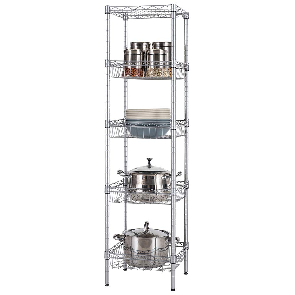 Singaye Storage Shelves 5 Tier Wire Shelving Unit With Baskets Shelving Adjustable Storage Shelf 134 D X 134 W X 512 Hsilver