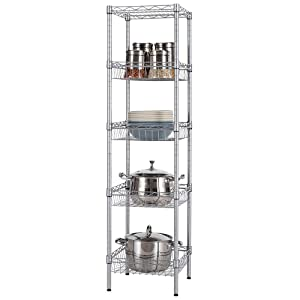 "SINGAYE Storage Shelves, 5-Tier Wire Shelving Unit with Baskets Shelving Adjustable Storage Shelf, 13.4"" D x 13.4"" W x 51.2"" H,Silver"