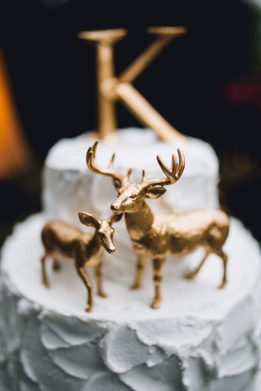 Metallic Gold Deer Cake Topper Buck and Doe Pair Wedding Cake