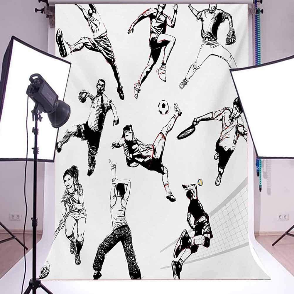 Muscular Energetic Athletes in Different Poses Sports Themed Drawing Style Artwork Background for Photography Kids Adult Photo Booth Video Shoot Vinyl Studio Props 8x10 FT Photography Backdrop