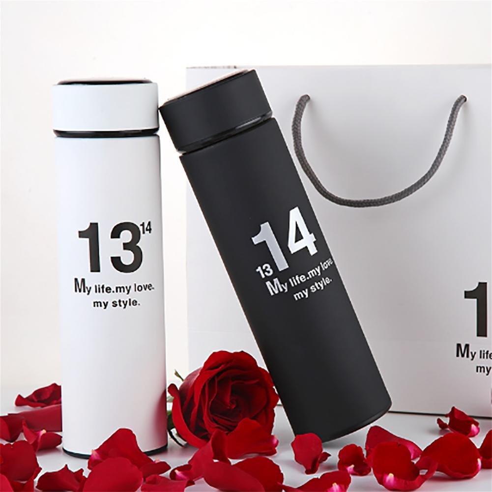 Liebe wird Maßnahmen ergreifen um Freunde / Familie Vakuum Paar Becher senden 304 Edelstahl Becher tragbare Außenthermos Becher 1 + 1 schwarz weiß