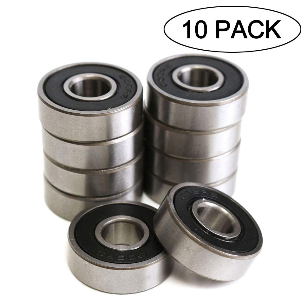608RS 8 x 22 x 7 mm Deep Groove Ball Bearing, 10 Pcs 608 2RS, Double Black Rubber Sealed Ball Bearings, Fit for Skateboard Bearings, 3D Printer RepRap Wheel, Roller Skates, Inline Skates (Pack of 10) 615KDkbiruL