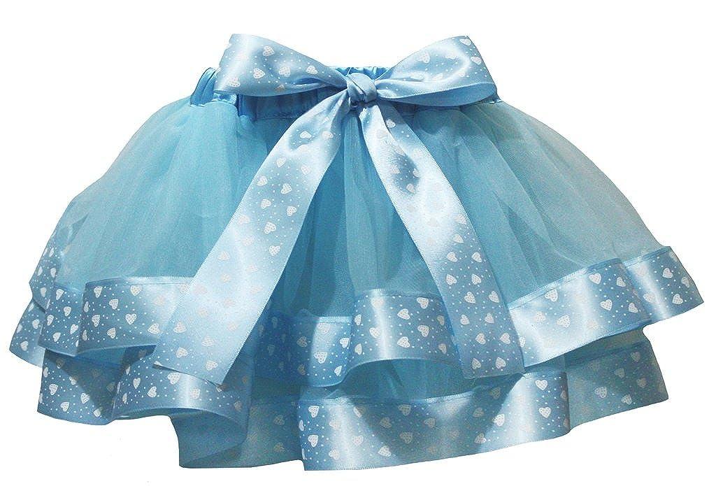 Petitebella Dress Blue 4 Layer Heart White Dots Ribbon Girl Petal Skirt Nb-8y CCP0023