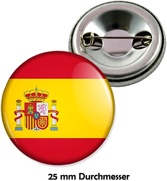 Spainish Flag In The Wind Button Badge Choice 2 sizes Lapel Pin Spain Spaniards