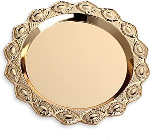 Gilded Pattern Dinner Plate Serving Tray Dessert Cake Steak Tray Barbecue Food Container,Towel Tray Storage Tray Tea Tray Fruit Trays Cosmetics Jewelry Organizer, Gold Round (9.84 inch)