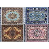 Inusitus Set of 4 Dolls House Rugs for Dollhouse Furniture - Miniature Woven Dollhouse Carpet (Various Flower Patterns)