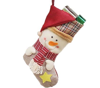 TREESTAR - Calcetines de Navidad con diseño de Papá Noel y muñeco de nieve, para