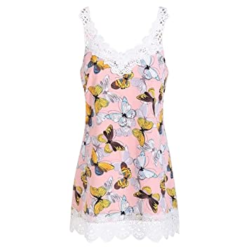 713970de00d7 Tank Tops for Women Plus Size Hosamtel Butterfly Print Lace Patchwork V-Neck  Loose Fit