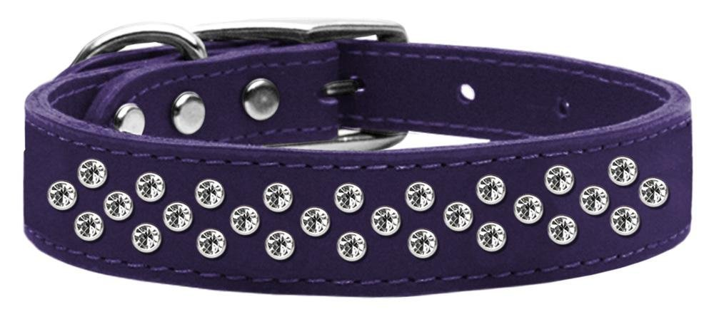 16\ Mirage Pet Products Sprinkles Clear Crystal Leather Purple Dog Collar, 16