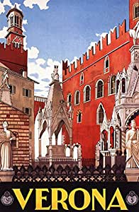 Amazon.com : Verona Poster, Veneto, Northern Italy, Vintage Italian Travel Poster : Everything Else