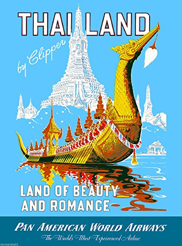 A SLICE IN TIME Thailand Land of Beauty and Romance Pan American Airways Vintage Travel Advertisement Art Collectible Wall Decor Poster Print.10 x 13.5 inches