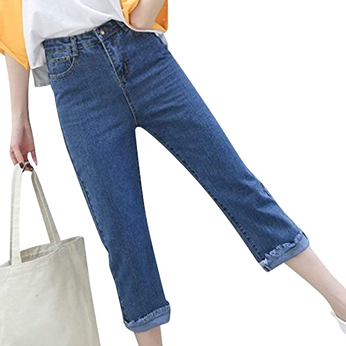 Pantalones Vaqueros para Mujer Cintura Alta Tobillo Denim ...