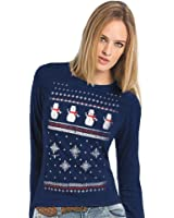 Womens Long Sleeved Christmas Snowman Top - Midnight Blue - Light alternative to a Christmas Jumper