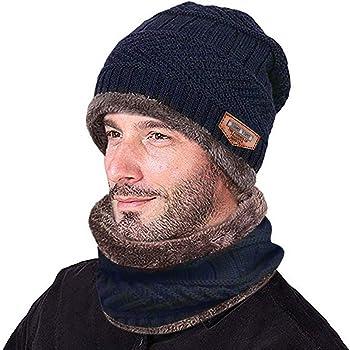 Makalon Two-Piece Men's Warm Beanie Winter Thicken Hat and Scarf Knit