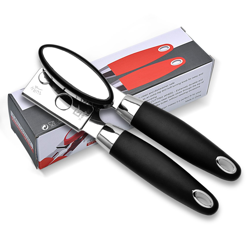 Can Opener,Manual Stainless Steel Can Opener With Sharp Cutting Wheel, Oversized Turning Knob and Non-Slip Handle