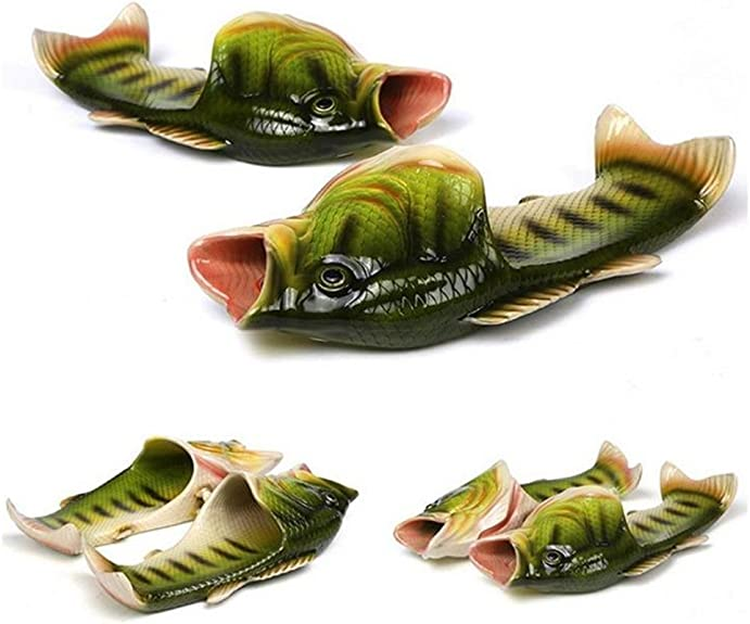Amazon.com | 6 Colours Fish Slippers Beach Shoes Non-Slip Sandals Creative Fish Slippers Men and Women Casual Shoe (Green, 10-11 Women/8.5-9.5 Men) | Slippers