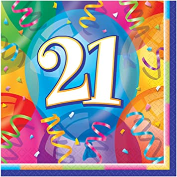 Unique Party 11371 Pack of 16 Brilliant 21st Birthday Paper Napkins