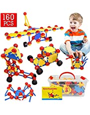STEM Toys, 160Pcs Creative STEM Learning Building Blocks Kit | Fun Educational Construction Engineering Toys for Boys Girls 4 5 6 7 8 9 10+ Years Old | Best Birthday Christmas Gift for Kids