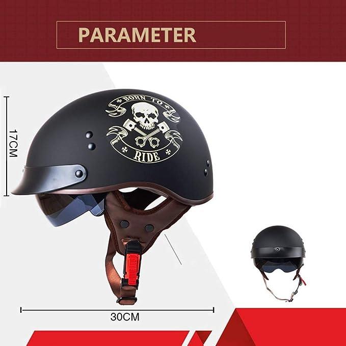 DJCALA Motorrad Halbhelme Brain-Cap /· Halbschale Motorrad-Helm Jet-Helm Roller-Helm Scooter-Helm Mofa-Helm Mit Sonnenblende ECE-Zertifizierung