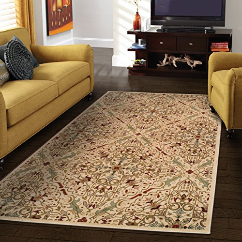 Superior Elegant Camille Collection Area Rug, 10mm Pile Height with Jute Backing, Intricate Traditional Rug Pattern, Anti-Static, Water-Repellent Rugs – 4 x 6 Rug