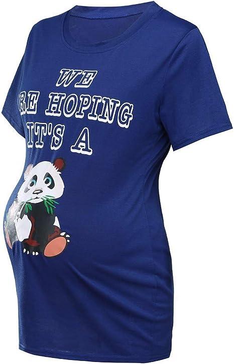 Iusun Womens Maternity Tops Panda Printed Short Sleeve Plus Size T-Shirt Mom Nursing Breastfeeding Pregnants Summer Cloth