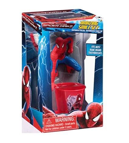 """ the Amazing Spiderman 5,08 cm juego de vaso para cepillo de dientes"