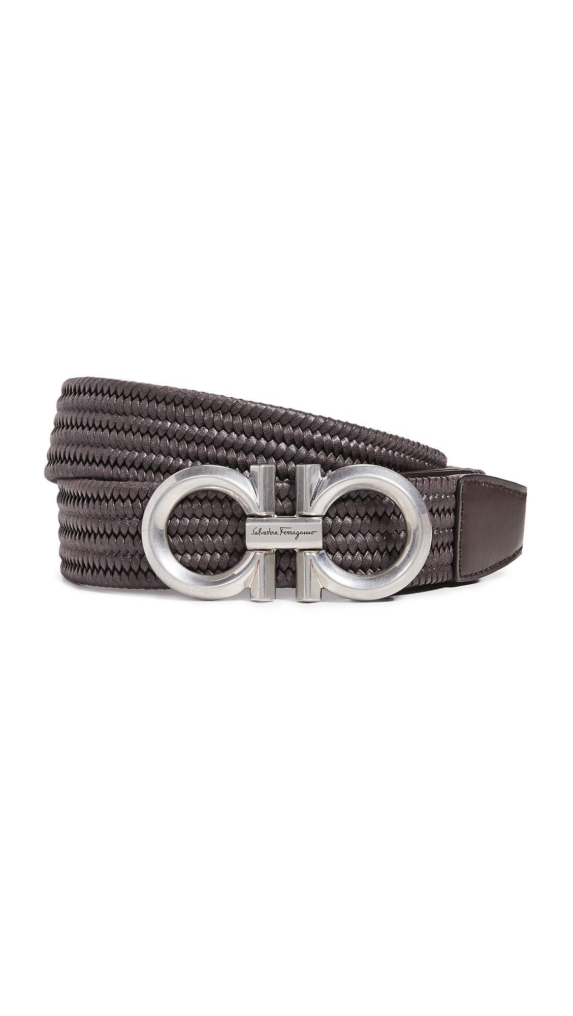 Salvatore Ferragamo Men's Braided Double Gancini Stretch Belt, Brown, 36