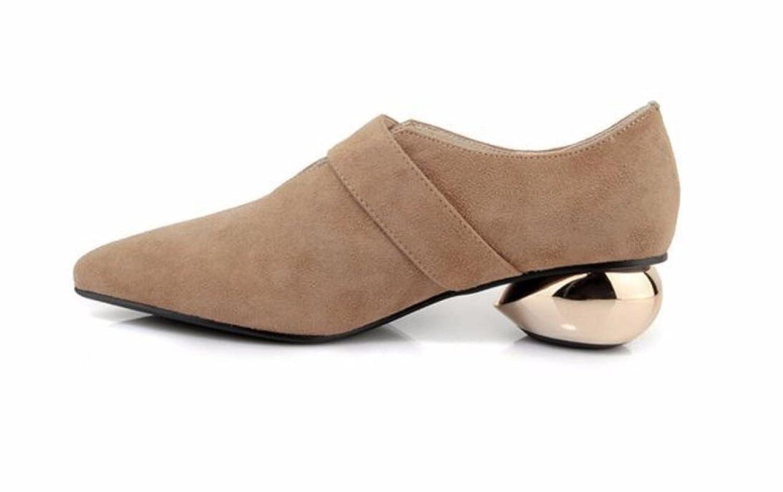 MUYII Frauen Frühling Frühling Frauen Und Sommer Mode Leder Schuhe Damen Metall Gürtelschnalle High Heels Sexy Spitzen Schuhe Beige d1a582