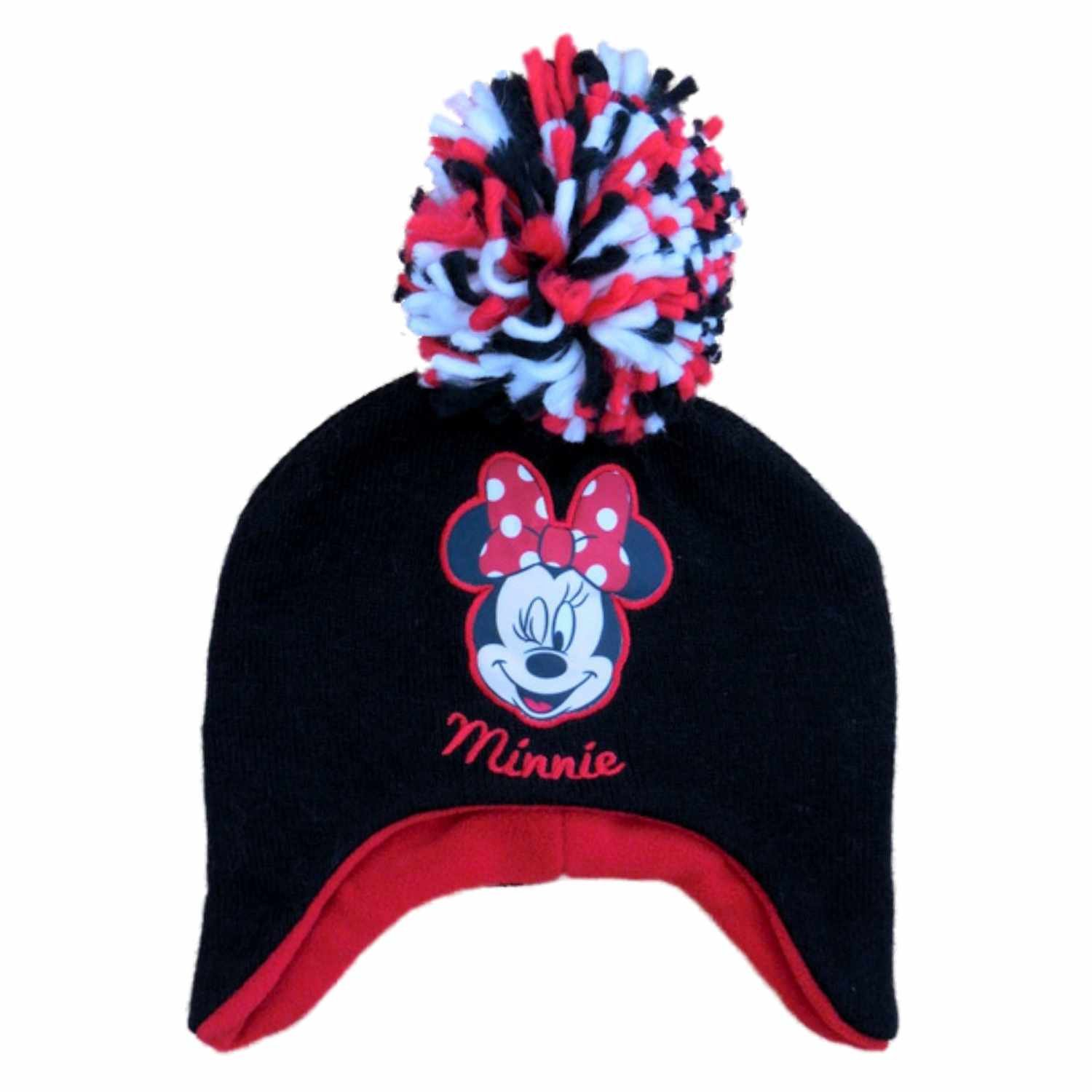 b652ee644bb Amazon.com  Disney Girls Black Minnie Mouse Beanie Stocking Cap Winter Hat   Clothing