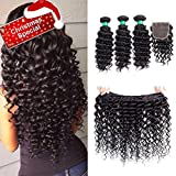 MQYQ Hair 3 Bundles with Closure Deep Curly with Closure Unprocessed Brazilian Virgin Human Hair Extensions Deep Wave Bundles with Closure Natural Black 95-100g/pc (14 16 18 + 12 inch)