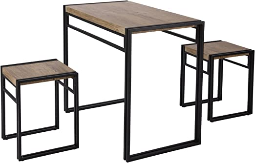 FIVEGIVEN 3 Piece Dining Set Small Kitchen Table Set for 2, Table and 2  Chairs Dining Set, Rustic Industrial Sonoma Oak