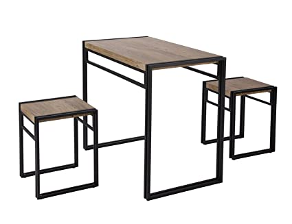 FIVEGIVEN 3 Piece Dining Bistro Table Set Indoor Kitchen Pub Table Set for Small Spaces Sonoma  sc 1 st  Amazon.com & Amazon.com: FIVEGIVEN 3 Piece Dining Bistro Table Set Indoor Kitchen ...