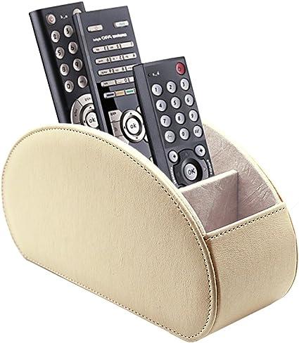 Fernbedienung Halter PU Leder TV Stift Bleistift Remote Organizer mit 5 Ger/äumigen F/ächern f/ür Wohnzimmer und B/üro Wei/ß