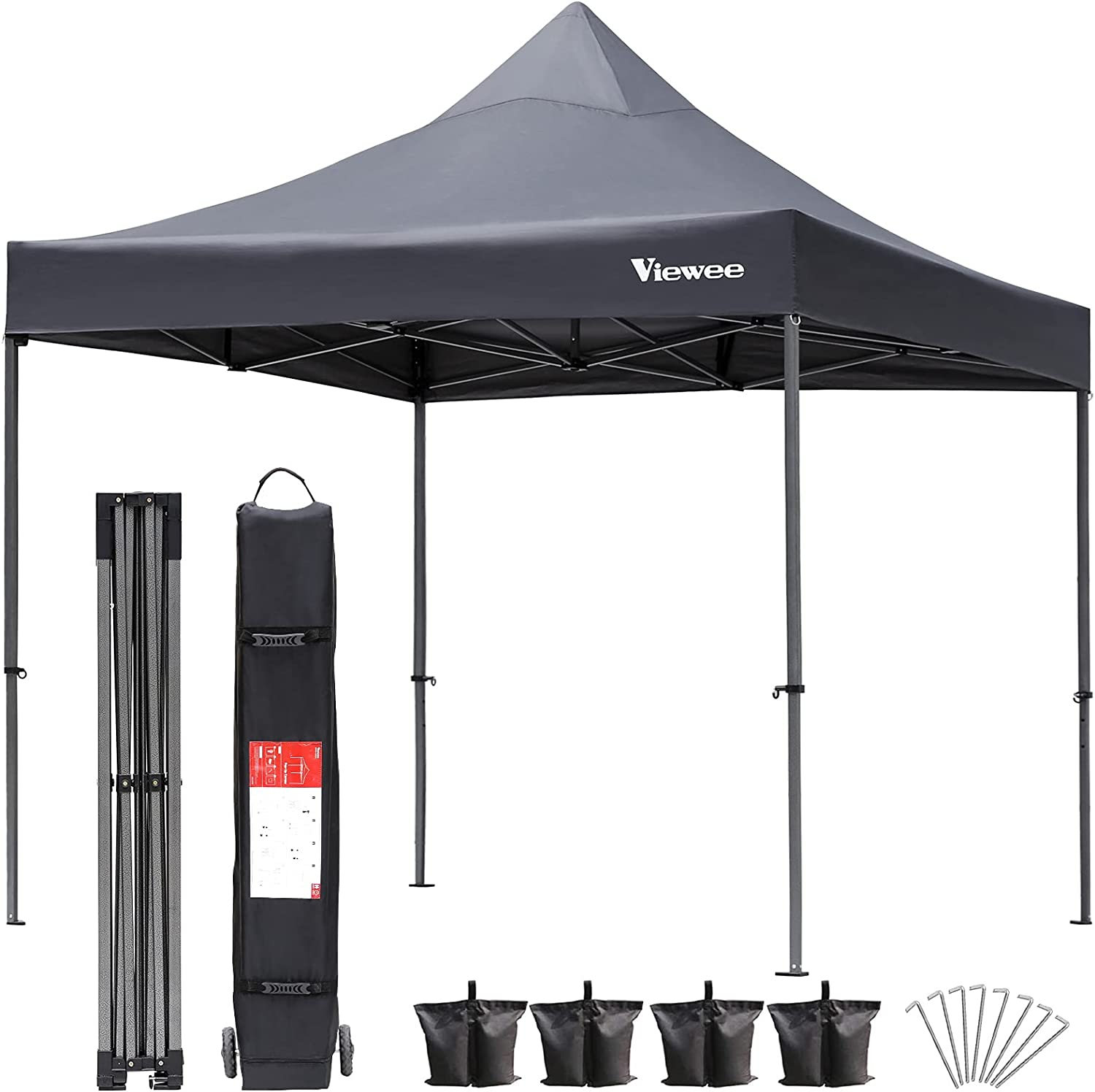 Viewee Pop up Canopy Tent, 10×10 FT Heavy Duty Commercial Instant Canopy Tent with Truss Structure, UV Block Sun Shelter Canopy with Wheeled Carrying Bag and 4 Sandbags for Outdoor Use