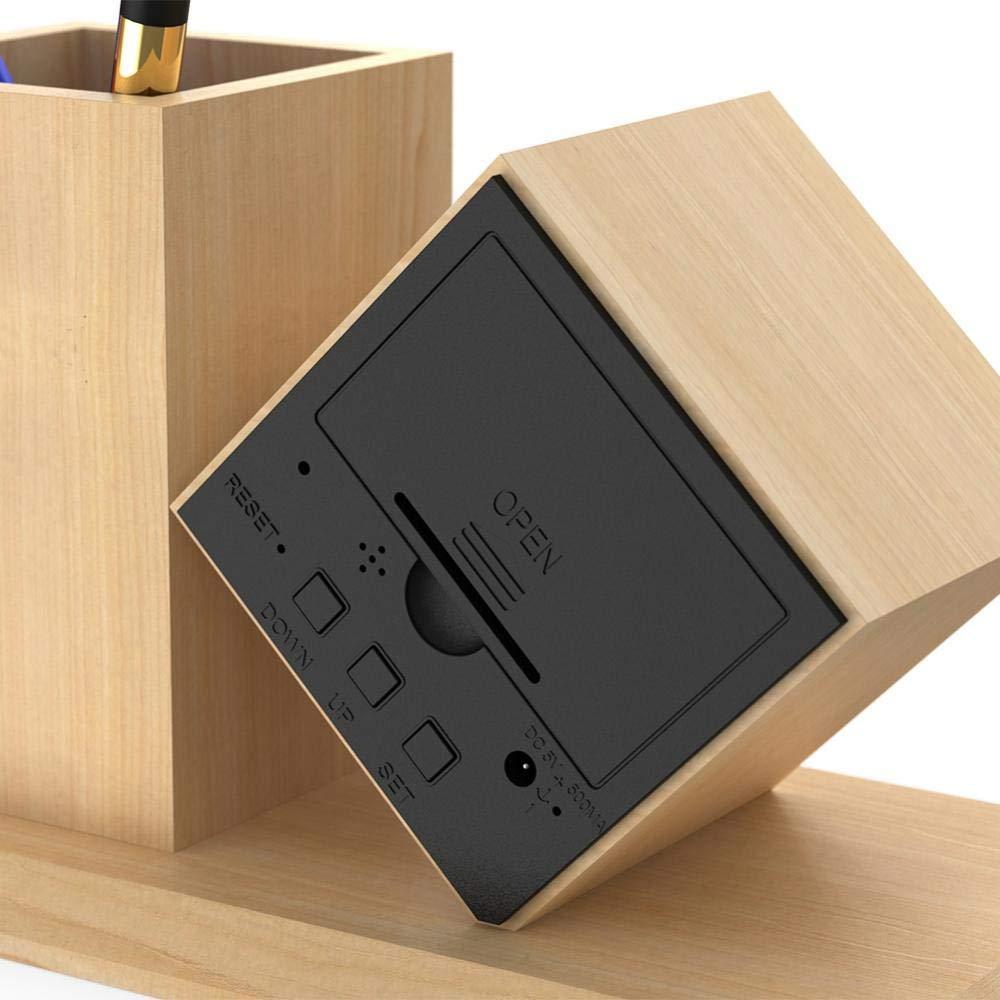 Haofy Despertadores de Madera Electrónicos LED Reloj Digital Despertador Titular de la Pluma LCD Pantalla Temperatura y Fecha Visualización: Amazon.es: ...