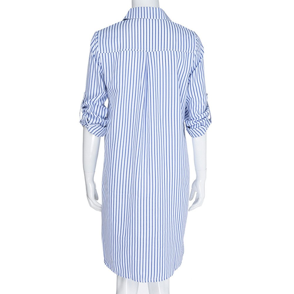 HHei_K Womens Sexy 3/4 Cropped Sleeve Turn-Down Collar Stripe Printed Pocket Button Closed Mini Shirt Dress by HHei_K (Image #8)