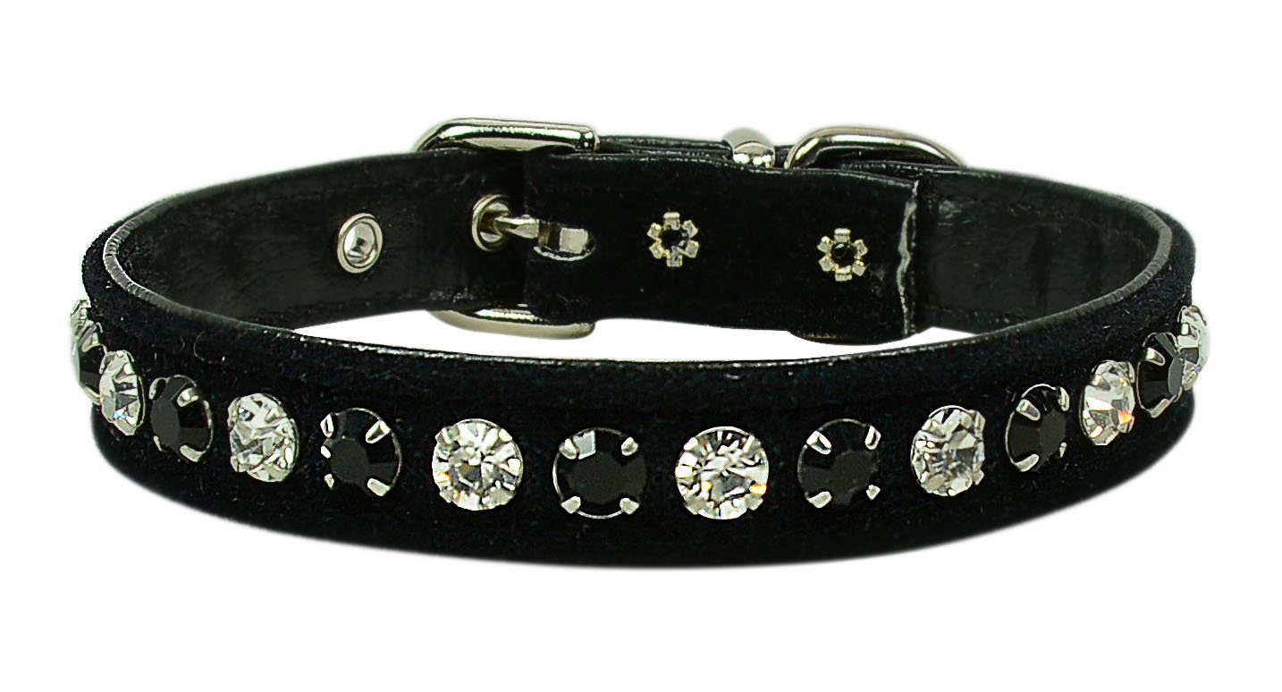 Evans Collars 1 2  Collar with Alternating Jewel colors, Size 14, Velvet, Black