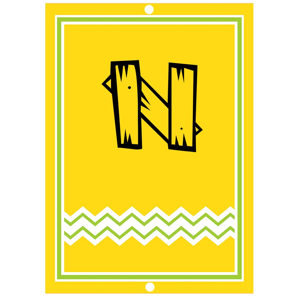 ''N '' Wood Initial Monogram Personalized Letter N Blue Room Nursery Décor METAL Sign Yellow by Fastasticdeals (Image #1)