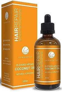 Hairworthy - Hairrepair 100% Organic Natural Argan, Coconut, Jojoba, Almond & Vitamin E Oil For Damaged Hair - Experience Healthy, Silky & Shiny Hair