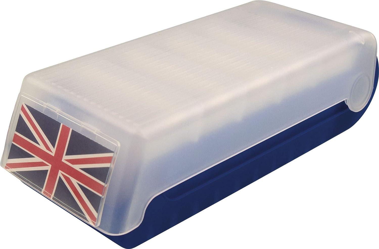 Helit Beebox - Caja para tarjetas (A7, para tarjetas de visita y fichas), color azul: Amazon.es: Oficina y papelería