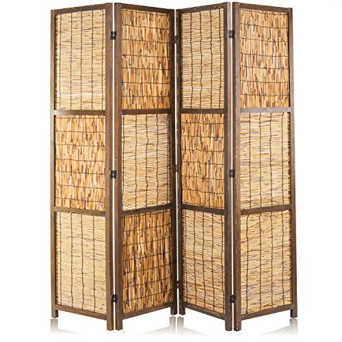 - MyGift Braided Reed Woven 4-Panel Folding Room Divider with Wood Frame, Brown
