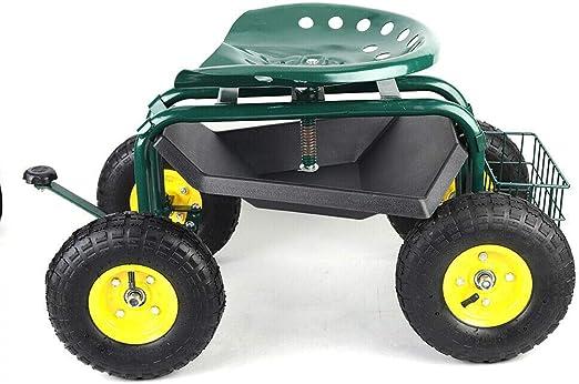 ROMYIX - Carro de jardín con asiento con ruedas, dispositivo de trabajo, carro de jardín portátil, silla de jardín, asiento móvil, herramientas de jardín: Amazon.es: Jardín