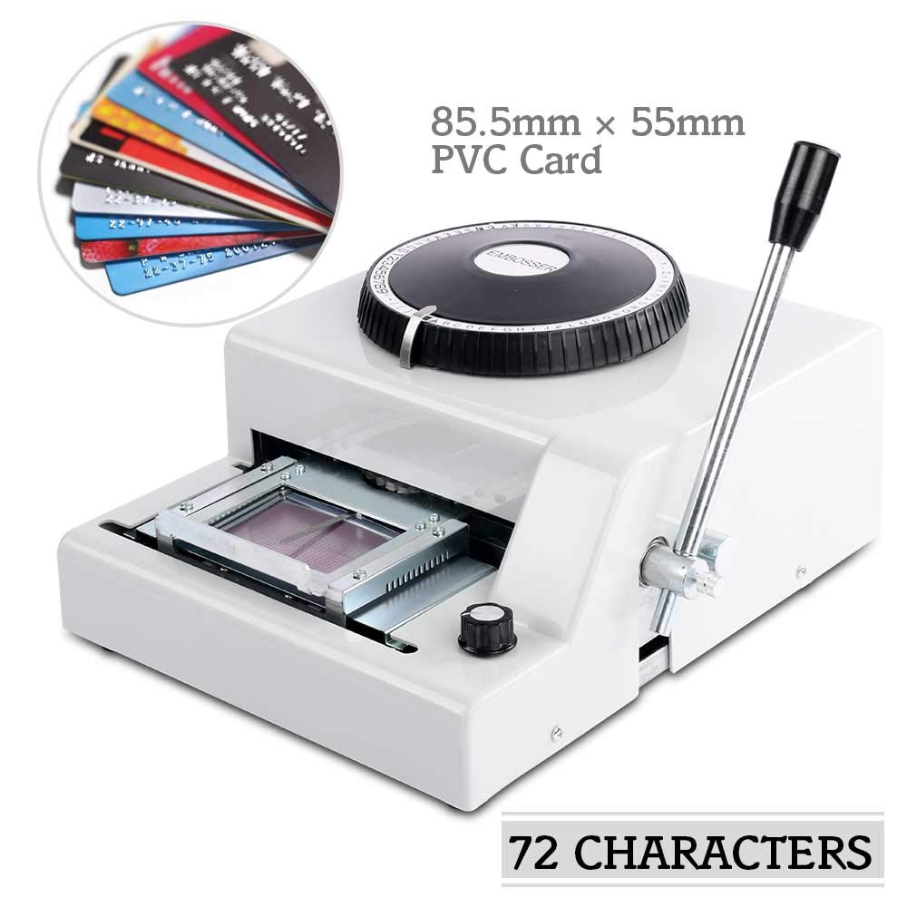 Embossing Machine 72 Character Card Embosser Stamping Machine Manual Embosser Machine for PVC Credit ID VIP Card by Apelila
