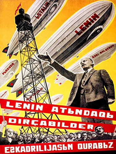 PROPAGANDA POLITICAL LENIN COMMUNIST USSR AIRSHIP FINE ART PRINT POSTER BB9210 (Communist Propaganda Poster)