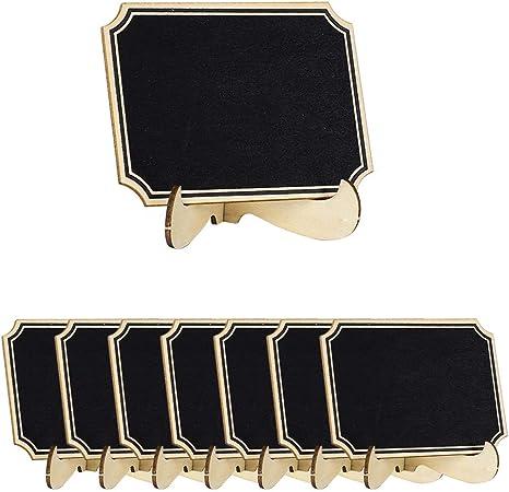 Sourcingmap – 8 mini pizarras con base de madera, diseño irregular, etiqueta de pizarra para letreros de tablero de ...