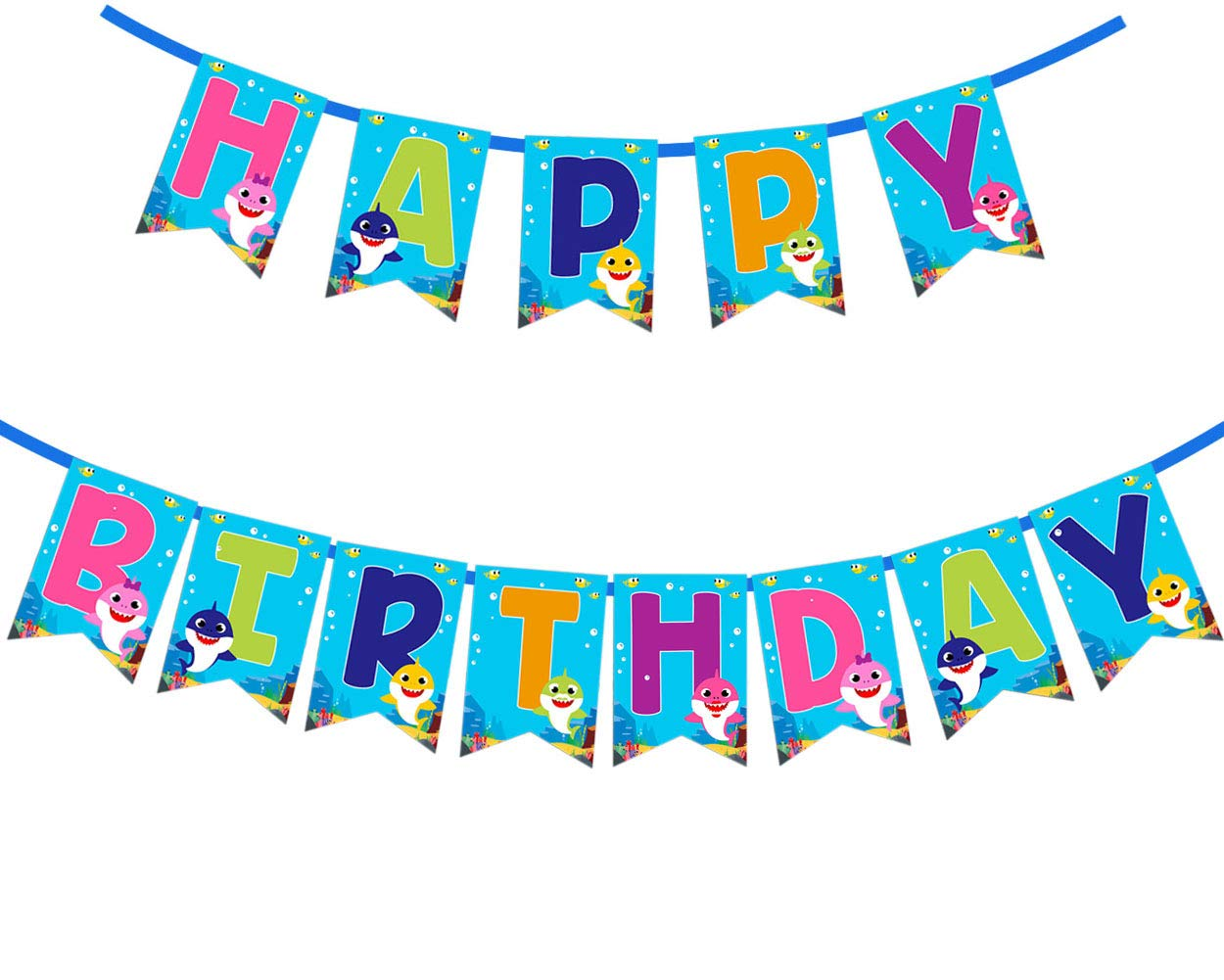 Baby Shark Happy Birthday Banner Party Supplies For Kids and Adults Birthday Party Decorations Set of 1